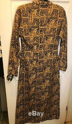 211. Peruvian Connection Long Shirt Dress 10 Tribal Ethnic Bark Cloth Textile