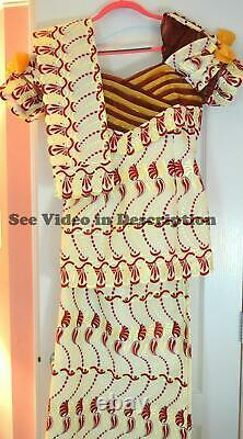 3 Piece African Embroidery Clothing in Red and Ivory Head Wrap Blouse Wrap Skirt
