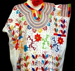 7X+ Maya Mexican Dress Beige Hand Embroidered Flowers Corn Chiapas folklorico
