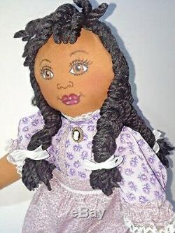 African American Cloth Doll Intricately Detailed Hair Braid Cultural Vintage