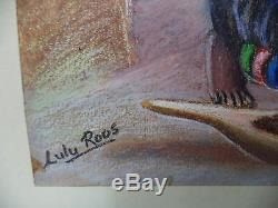 African Nude Women & Baby Ethnic Clothing Tribal Life Painting Signed Lulu Roos