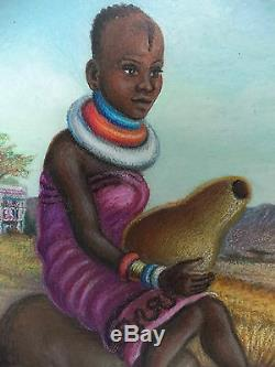 African Women Girl Ethnic Clothing Tribal Life Africa Painting Signed Lulu Roos