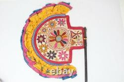 Antique Ethnic Beads Kasida Work Folwer Hand Hold Fan Lacquer Painted Hand