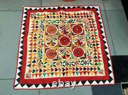 Antique Hand Made Embroidery Patch Work Ethnic Wall Hanging Tapestry Home Decor