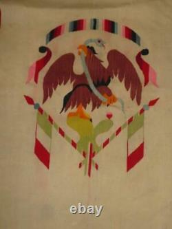 Antique Native American Mexican Woven Cloth Ethnic Blanket Snake+eagle Motif