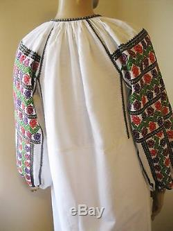 Antique hand embroidered Romanian traditional blouse dress rose buds size S/M