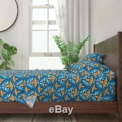 Art Deco Floral Geometric African 100% Cotton Sateen Sheet Set by Roostery