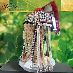 Artisan ethnic hill tribe Akha hat clothes metal bead feather tassels handmade