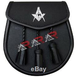 B New Leather Sporran with Masonic Badge on Front 3 Tassels & Chain Straps