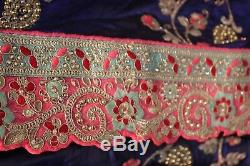 Bollywood Indian Satin Silk Embroidered Cut Work Saree Sari Bridal Party Dress