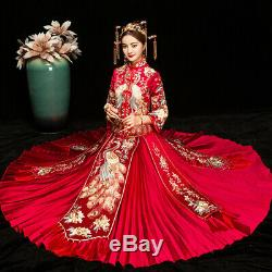 Chinese Traditional Bride Dress Xiuhe Clothing Peacock Wedding Dress Red Costume