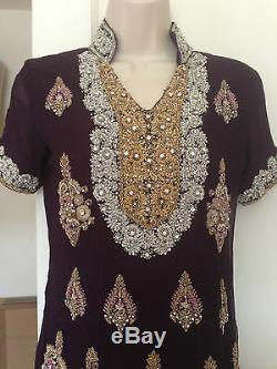 Cultural Ethnic pakistani indian dress shalwar style kameez purple Small Clothes