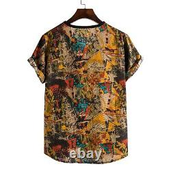 DAIGELO Male Clothing Men's Spring And Summer Ethnic Style Linen Printed V-neck
