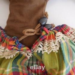 Doll Artist Ethnic Africa Hand Made Cloth Vintage Lace 20th Pn France