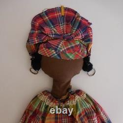 Doll Artist Ethnic Africa Handmade Hand Cloth Lace Vintage 20th PN France