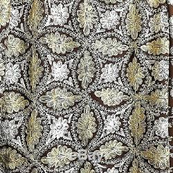 Embroidere Suzani Ethnic Table Cloth Bed Cover Wall Hang Decor Brown White Beige