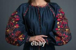 Embroidered Bohemian Cotton Dress Ukrainian Ethnic Clothing Mexican Blue Dress