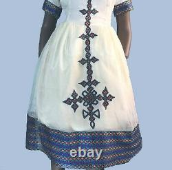 Eritrean, Ethiopian Dress, Traditional Habesha Clothes, embroidered, 100% cotton