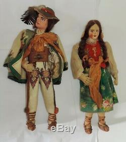 Ethnic Doll Pair Hand Made in Poland Clay/Cloth Elaborate Costume Kimport 1930's