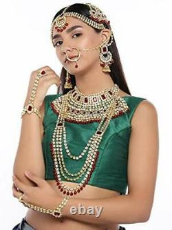 Ethnic Indian Traditional Bollywood Fashion Kundan Bridal Jewelry Set with Red