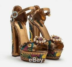 Europe Court Style Thick High Heel Platform Open Toe Ethnic Embroidery Sandals