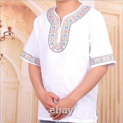 Featured T-shirt Men Cotton and Linen Half-sleeved Ethnic Clothing Adult Short