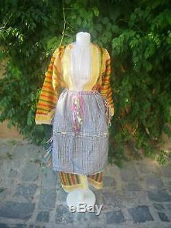 Hand embroidered long gown and apron, Macedonian Islamic ethnic clothes
