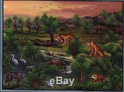 Handmade Miniature Painting Of Wildlife Art Lion Deer Tiger Ethnic Folk Wall Art