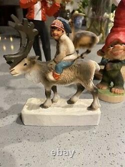 Henning Norway Carved Figure Wood Moose Antlers with Rider Ethnic Clothing