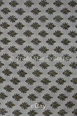 Indian Block Print Fabric by the Yard Ethnic Handmade Cotton Voile Sewing Fabric