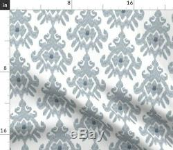 Large Scale Slate Blue Grey Modern Ikat 100% Cotton Sateen Sheet Set by Roostery