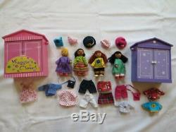 Maggie's Closet Wooden Bendable Posable Ethnic 4.5 Doll & Clothes Lot Dollhouse