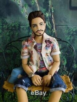 Mario Antonio Dog Lover 23 OOAK Male All Cloth Articulated Art Doll -Gayle Wray