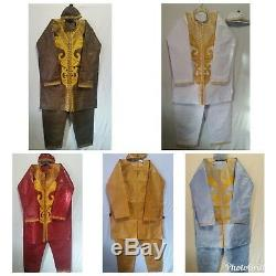 Men's Pant Suit African Traditional Brocade clothing Cultural Boho Free Size
