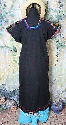 Mexican Huanengo Dress Kaftan Black Floral Michoacan Hand Woven & Embroidered