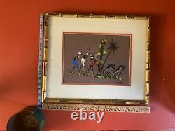 Mid Century Oil on Cloth Paintings by H MOUKOKO Nigerian Tribal Artist 3 Signed