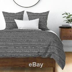 Mud Cloth Tribal African Ethnic Geometric Striped Sateen Duvet Cover by Roostery