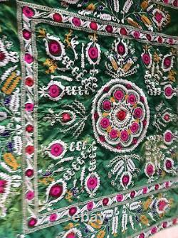 Museum Large Suzani Silk Embroidery Ethnic Wall Tribal Hanging Bed Cover As Is