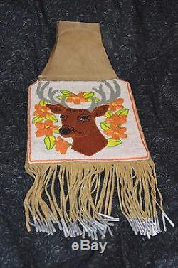 Native American Beaded Deer Floral Arm Purse Pow Wow