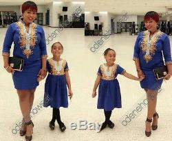Odeneho Wear Mother and Daughter Embroidery Dress. African Clothing