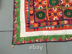 Old Antique Indian Home Decor Embroidery Patch Work Ethnic Wall Tapestry Hanging
