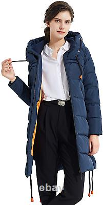 Orolay Women's Thickened Long Down Jacket Ladies Hooded Coat Navy S