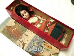 RARE Antique SIMON & HALBIG Ethnic DOLL Original CLOTHES & Old BOX as is