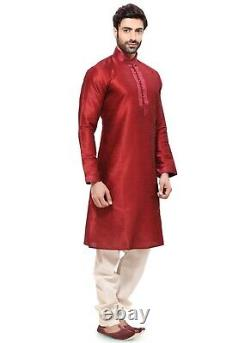 Red Traditional Lace work Readymade Ethnic Indian Kurta Pajama for Men