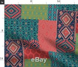 Round Tablecloth Ikat Boho Collage Patchwork Ethnic Indian Cotton Sateen