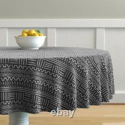 Round Tablecloth Mud Cloth Tribal African Ethnic Geometric Striped Cotton Sateen