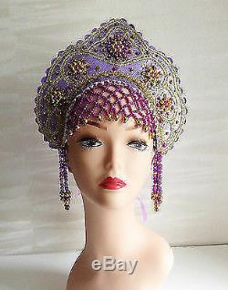 Russian woman national headdress beads embroidery Ethnic Clothing Russia 81j