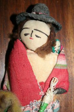Set of 2 Vintage 1960s Peru Peruvian 11 Dolls in Ethnic South American Clothing