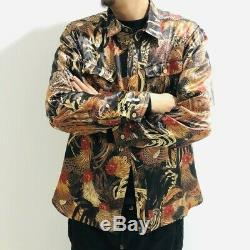 Spring Chinese Floral Print Loose Lapel Long Sleeve Shirt Coat Button Tops Retro