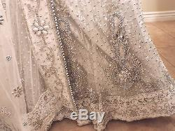 Traditional Indian Wedding Lengha- White/Silver